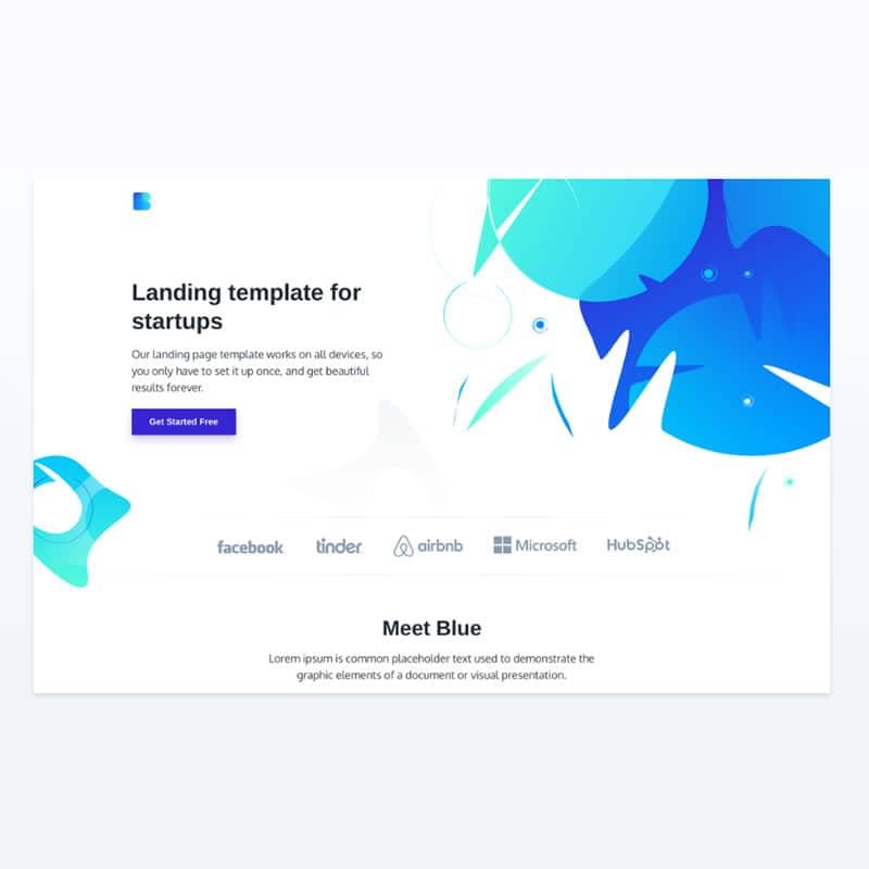 Landing template for startups