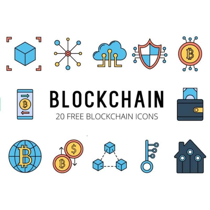 Blockchain Vector Free Icon Set