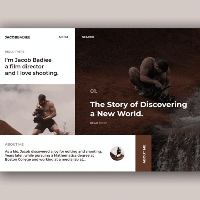 Filmmaker Portfolio Website [Adobe XD]