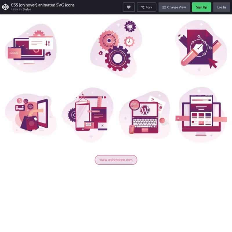 CSS (on hover) animated SVG icons