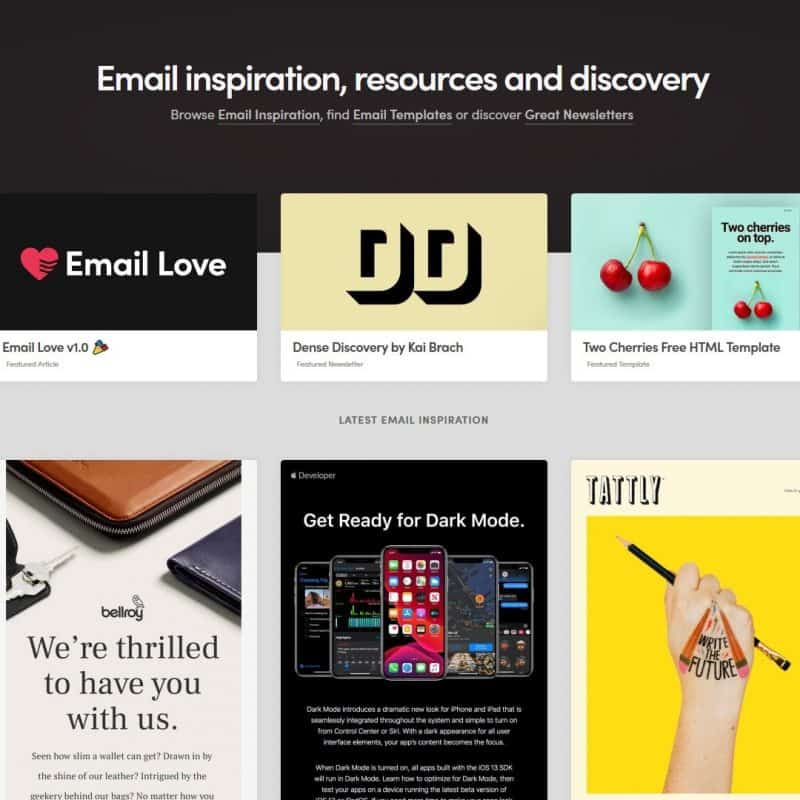 Email inspiration, resources and discovery