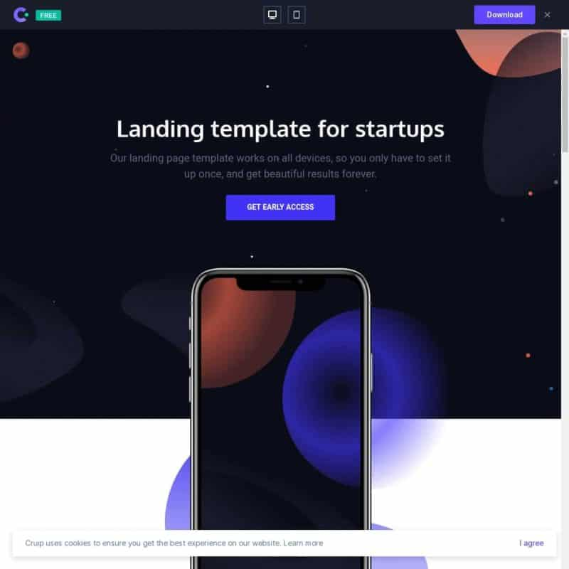 Landing template for startups