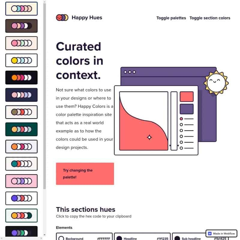 Curated colors in context