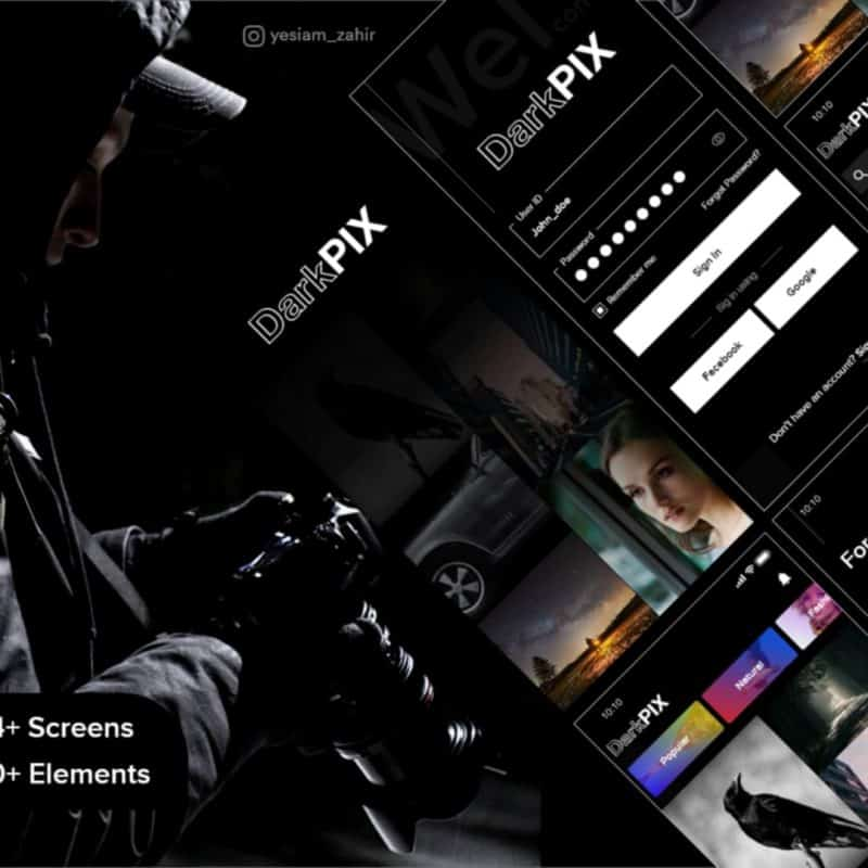 DarkPIX UI Kit - Free Stock images App design