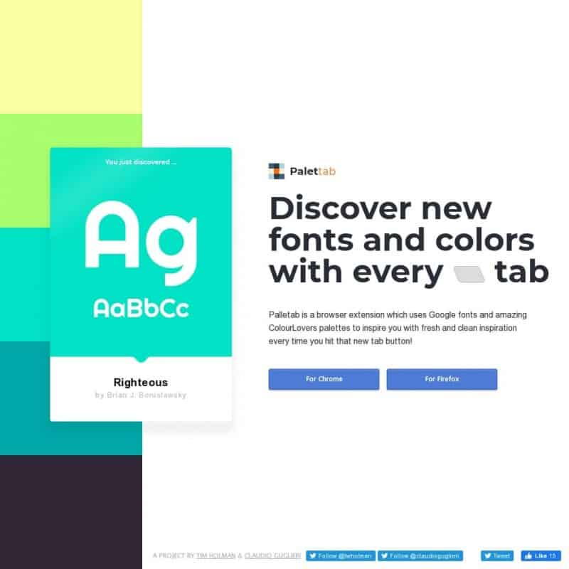 PaletTab - discover fonts and colors with every tab