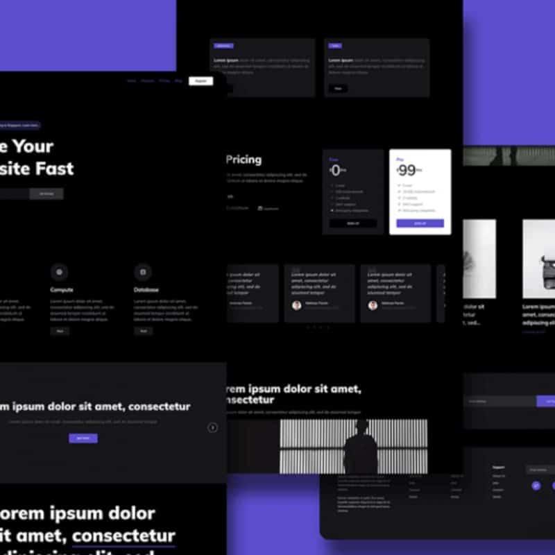 Dark HTML landing page template - HOOK