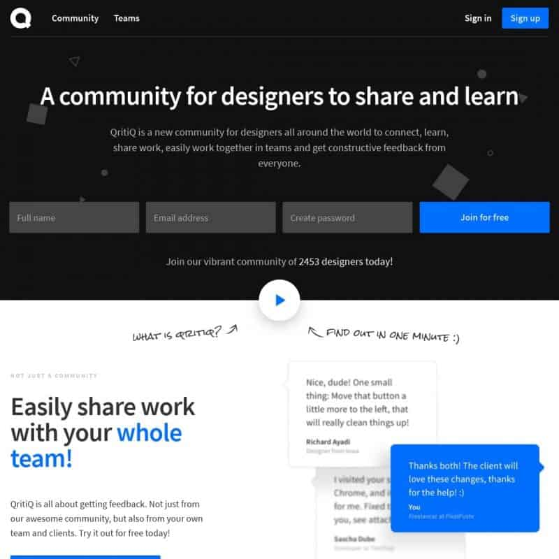 QritiQ - a community for designers to share and learn