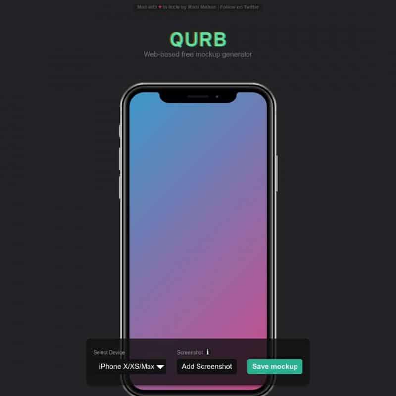 Web-based free mockup generator - Qurb
